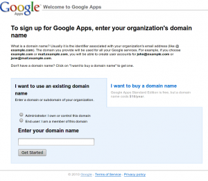 Sign up for Google Apps