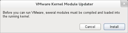 vmware kernel module updater dialog